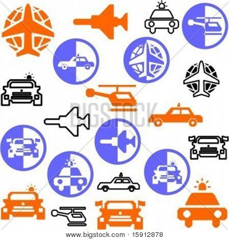 A set of 21 transportation icons.