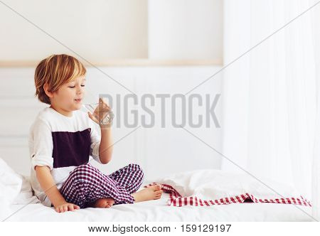 Young Kid, Boy Starts His Morning With A Glass Of Fresh Water