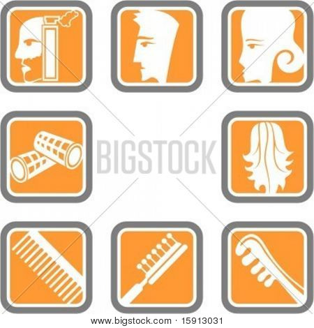 A set of 8 vector icons of hairdressers.