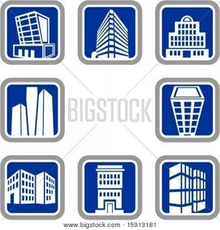 A set of 8 vector icons of buildings.