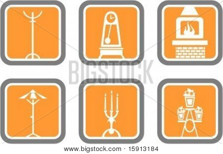 A set of 6 vector icons of furniture objects.