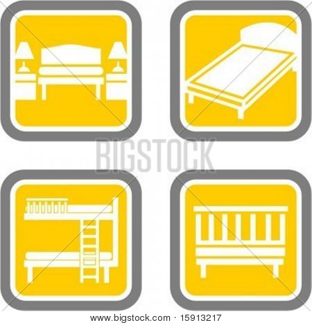 A set of 4 bedroom vector icons.