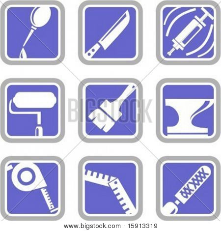A set of 9 vector icons of tool objects.