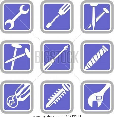 A set of 9 vector icons of tool objects. Check my portfolio for many more images of this series.
