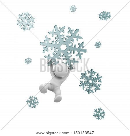 3d human flying with a snowflake christmas winter