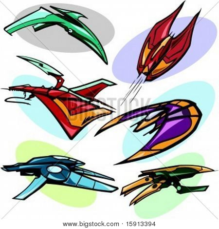 A set of 6 vector illustrations of alien spaceships.