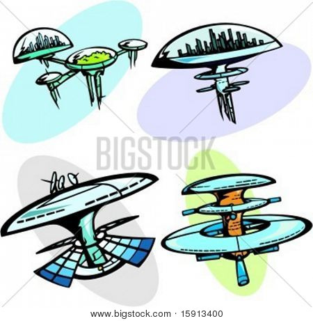 A set of 4 vector illustrations of space cities.