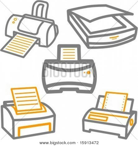 A set of 5 vector icons of printers and a scanner.