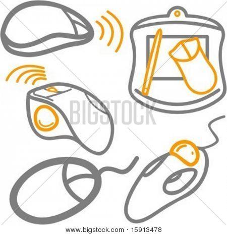 Ein Satz von 5 Vektor-Icons Computer WLAN Kabel Mäuse und eine Tablette.