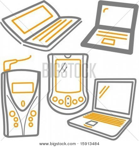 A set of 5 vector icons of laptops, mobile phone and handheld computers.
