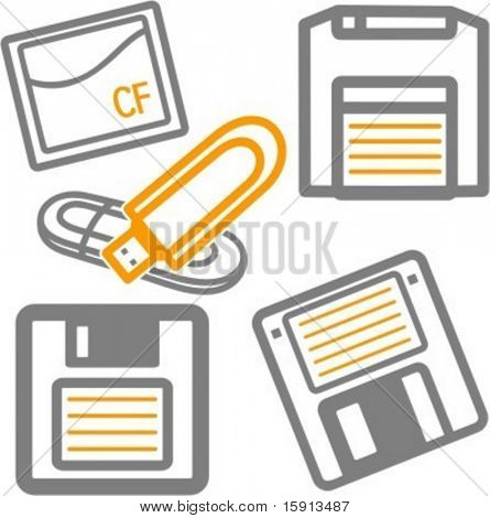 A set of 5 vector icons of floppy diskettes, flash memory card and removable USB drive.