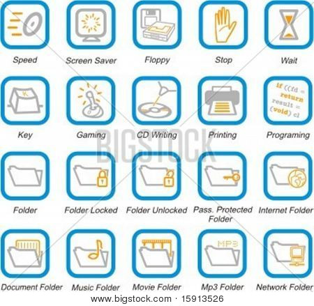 A set of 20 vector computer system, security and software pictograms.
