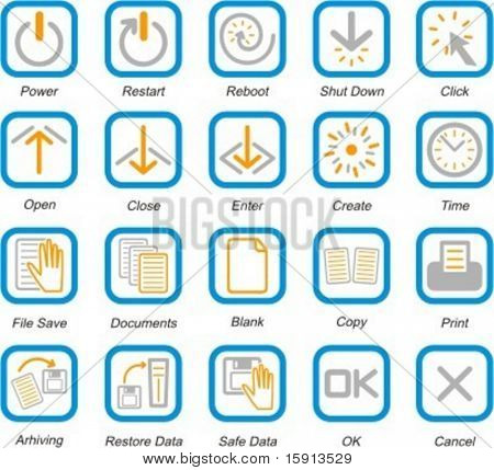 A set of 20 vector computer system and software pictograms.