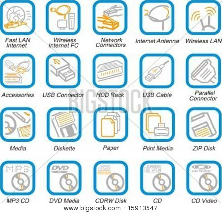 A set of 20 vector computer multimedia, networking, accessories and PC health pictograms.