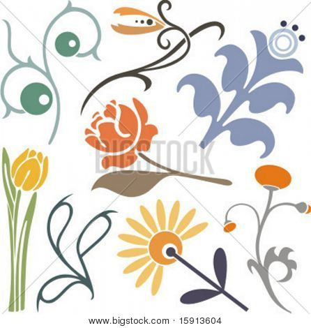 A set of 8 vector floral design elements.