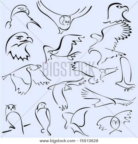 A set of 15 vector illustrations of birds in unique exquisite and ornamental style.