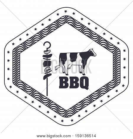 Cow and meat skewer icon. Bbq menu steak house food meal restaurant and barbecue theme. Isolated design. Vector illustration