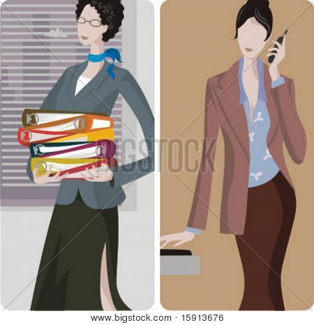 A set of 2 businesswomen vector illustrations. 1) A businesswoman, a secretary or a student carring folders. 2) A businesswoman speaking on a mobile phone.