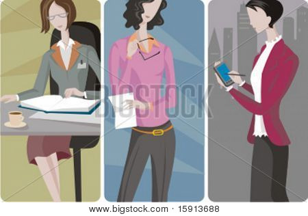A set of 3 businesswomen vector illustrations. 1) A businesswoman reading a book and drinking a coffee. 2) A businesswoman reading a document. 3) A businesswoman using on a hand held computer.