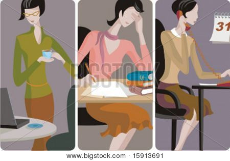 A set of 3 businesswomen vector illustrations. 1) A businesswoman holding a cup of coffee. 2) A businesswoman working in the office. 3) A businesswoman speaking on a telephone.