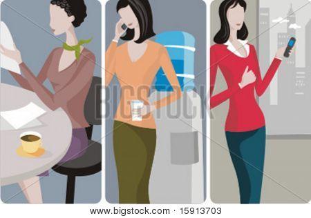 Un conjunto de ilustraciones de vector 3 empresarias. Empresaria de A 1) leyendo un periódico 2) A businessw
