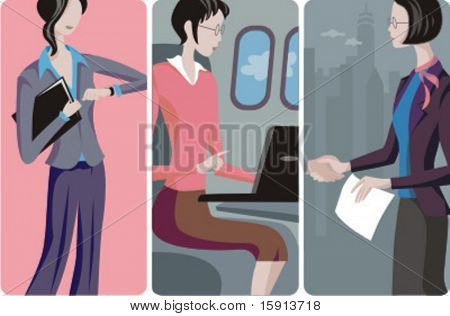 A set of 3 businesswomen vector illustrations. 1) A businesswoman waiting for a business partner. 2) A businesswoman working on her laptop in an airplane. 3) A businesswoman at a business meeting.
