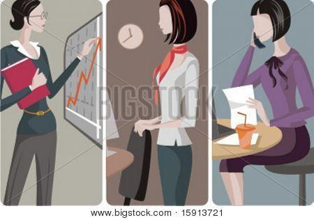 A set of 3 businesswomen vector illustrations. 1) A businesswoman making a presentation of the business development. 2) A businesswoman in an office. 3) A businesswoman speaking on a mobile phone.
