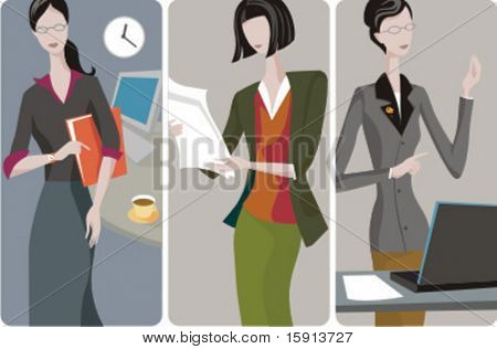 A set of 3 businesswomen vector illustrations. 1) A businesswoman or a secretary in an office. 2) A businesswoman reading a newspaper. 3) A businesswoman or a secretary working with a laptop.