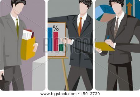 A set of 3 businessmen vector illustrations. 1) A businessman holding a suitcase and a box with folders. 2) A businessman making a presentation. 3) A businessman making calculations.