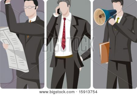 A set of 3 businessmen vector illustrations. 1) A businessman reading a newspaper. 2) A businessman speaking on a mobile phone. 3) A businessman speaking with a loudspeaker and holding a folder.