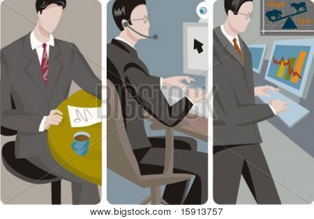 A set of 3 businessmen vector illustrations. 1) A businessman reading a document and drinking coffee. 2) A businessman making a video conference. 3) A businessman working with a computer.
