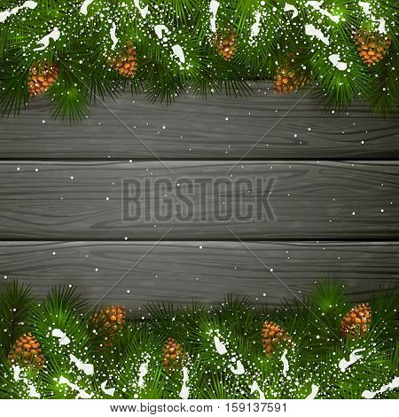 Winter decorations, Christmas theme with pinecone, decorative spruce branches with pine cones and snow on a black wooden background, illustration.