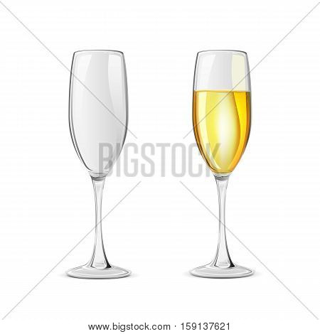 Set of two champagne glasses, isolated on white background, illustration.
