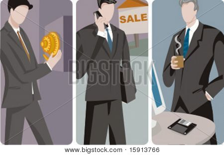 A set of 3 businessmen vector illustrations. 1) A businessman\banker opening a safe. 2) A sales consultant businessman speaking on a mobile phone. 3) A businessman drinking coffee