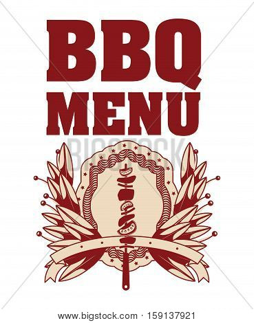 Meat skewer icon. Bbq menu steak house food meal restaurant and barbecue theme. Isolated design. Vector illustration