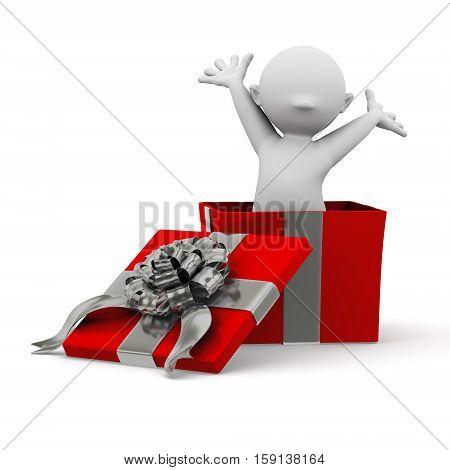 3d human inside a surprise christmas present