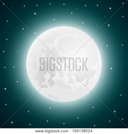 Moon with shining stars, vector illustration sky