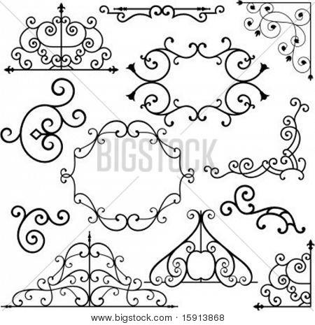 Un conjunto de 8 exquisitas y diseños ornamentales muy limpio.