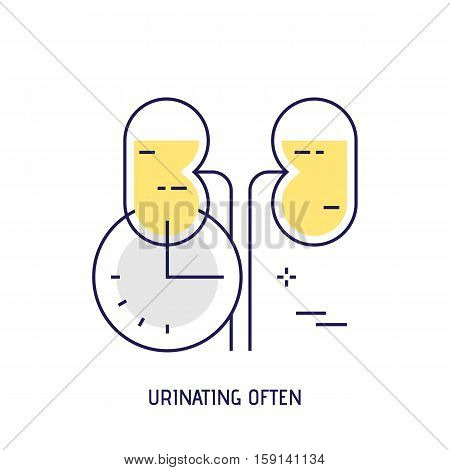 Urinating often. Modern thin line icon. Premium quality outline sign. Stock vector illustration in flat design.