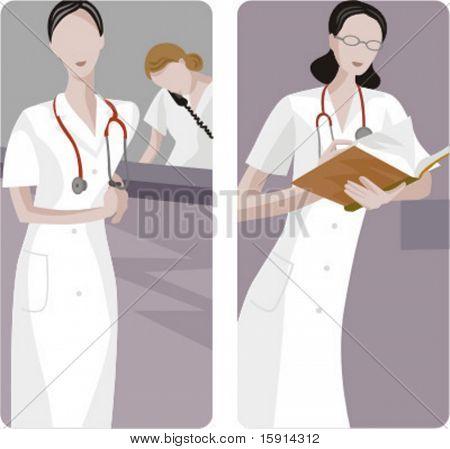 Un conjunto de 2 ilustraciones médicas. 1) Llamada emergencia. 2) Medic analizar resultados.
