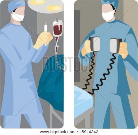 Un conjunto de 2 ilustraciones médicas. 1) Cirujano preparándose para dar una inyección. 2) Caso emergencia.