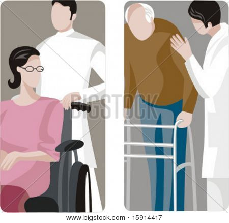 A set of 2 medical illustrations. 1) Medic helping a patient in wheelchair. 2) Old man using walker.
