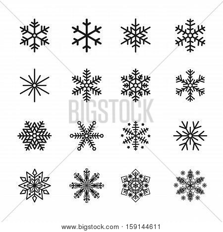 Set of Snowflake Icons Black Vector Silhouette Illustration