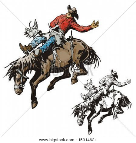 Illustration of a rodeo cowboy riding a saddled horse.