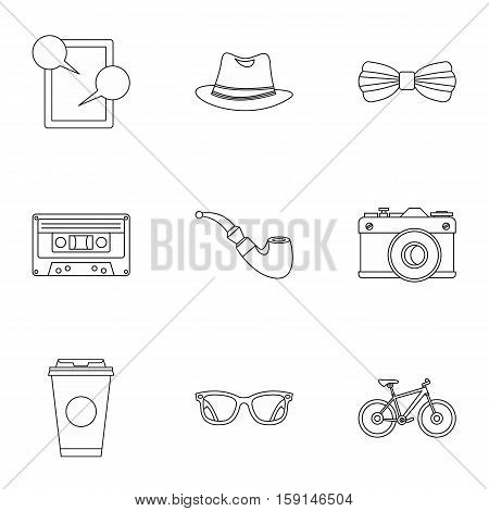 Subculture hipsters icons set. Outline illustration of 9 subculture hipsters vector icons for web