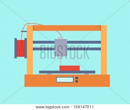 3D printer prints detail ABS plastic. Vector illustration