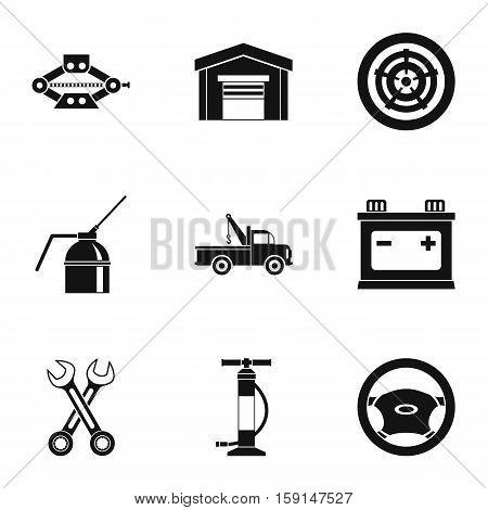 Repair machine icons set. Simple illustration of 9 repair machine vector icons for web
