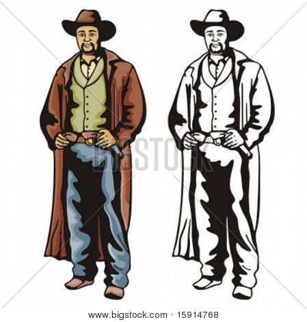 Illustration of a cowboy ready to draw pistol from holster for a duel.