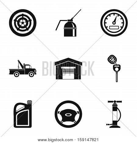 Maintenance car icons set. Simple illustration of 9 maintenance car vector icons for web