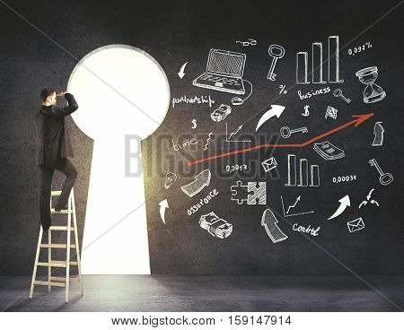 Young businessman on ladder looking out of keyhole opening in concrete wall with creative financial sketch. Researh and success concept